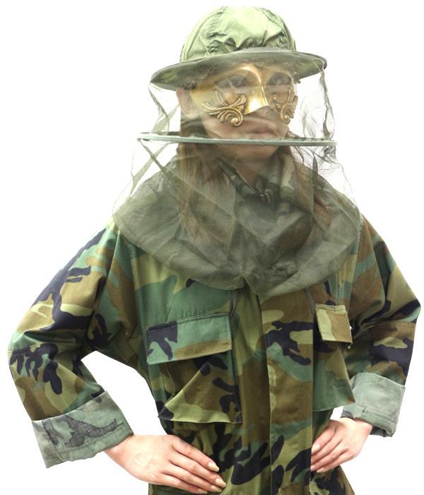 画像1: デング熱対策グッズ U.S.ARMY 実物蚊よけネット (1)