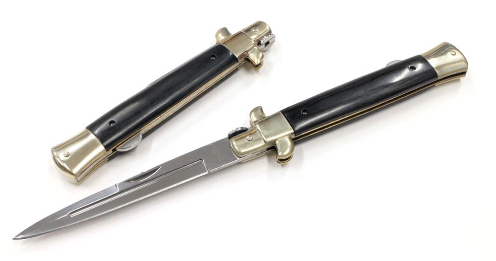 画像1: ブラックウッドハンドルスチレットナイフ