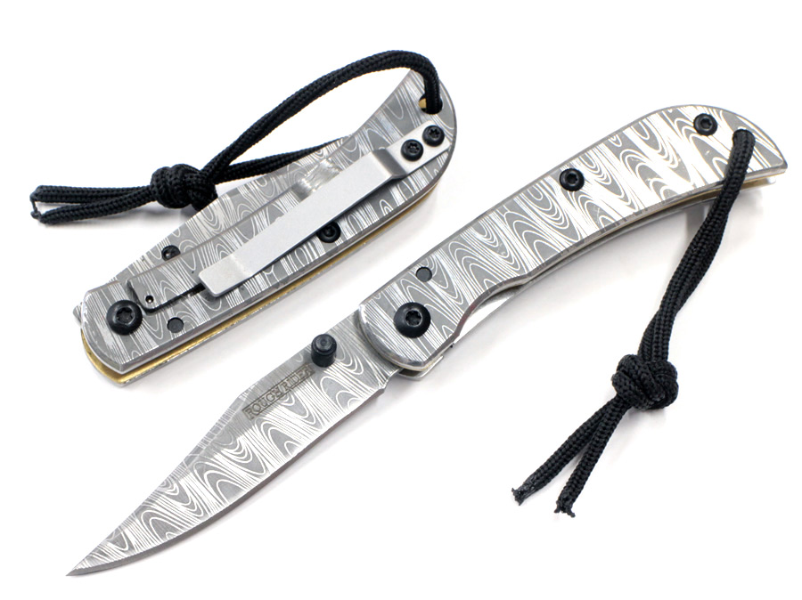 画像1: フェイクダマスカスフレームロックナイフ