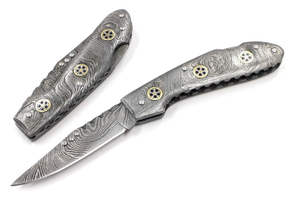 画像1: ダマスカスフォルダー ロックバックナイフ