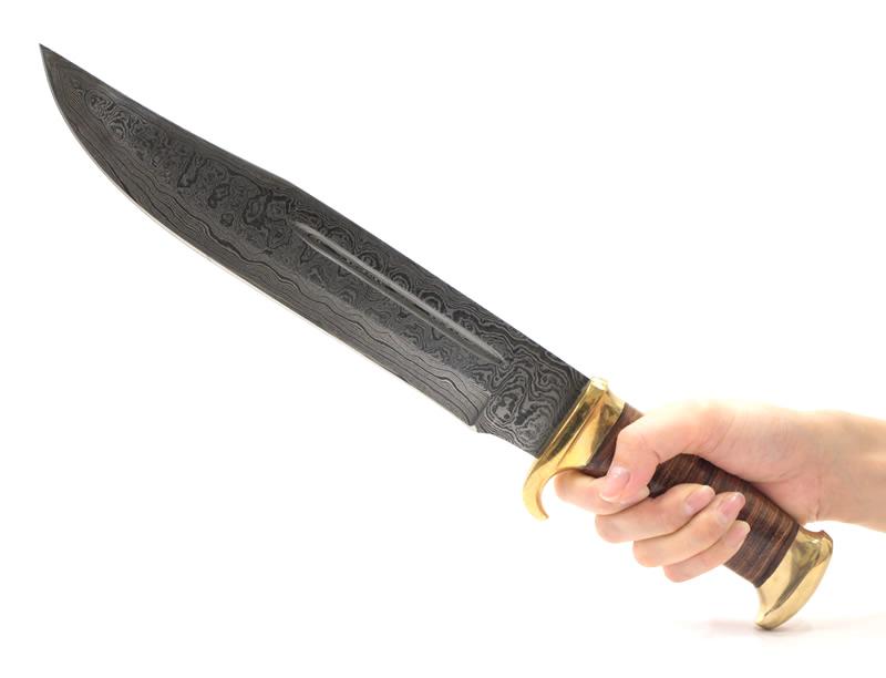 画像2: ダマスカス鋼 スタックドボウイナイフ