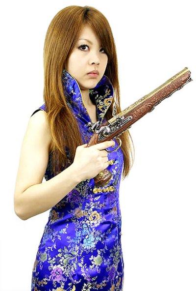 画像1: 決闘用 フリントロック拳銃 ゴールドデラックス